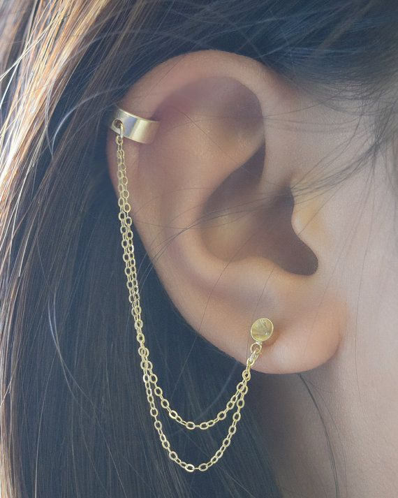 Double Chain Cuff Earring by Olive Yew. Double gold chain earring cuff with cupped circle stud earring. This thick gold filled cuff is 1/4 inch wide and is to be worn on the helix area of the ear.