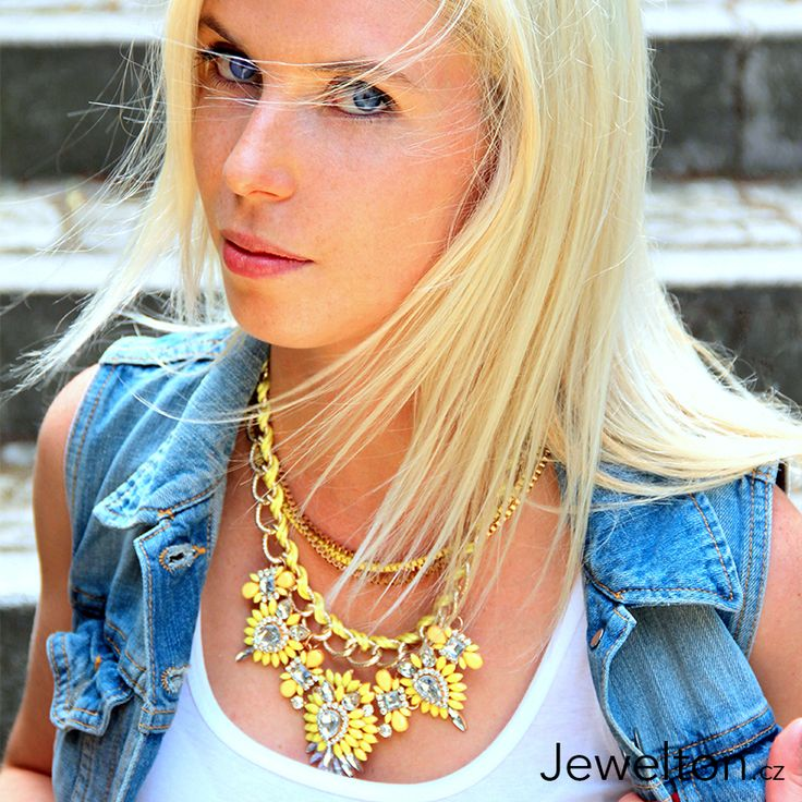 Yellow necklace with blue jeans jacket and beautiful blonde czech girl :)