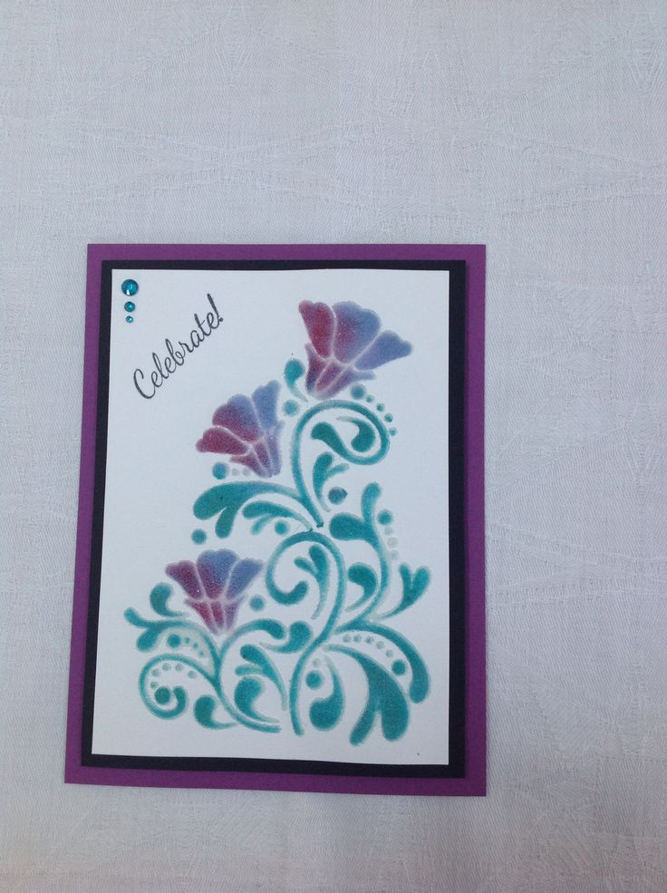 Sweet poppy stencil, distress inks, Sweet Poppy translucent dimensional paste and micro beads.