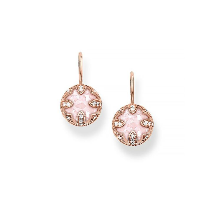 Thanks to the dazzling zirconia and the delicate THOMAS SABO lens-cut rose quartz, the THE PURITY OF LOTOS swan-neck earrings with 18k rose gold plating reveal their feminine elegance.