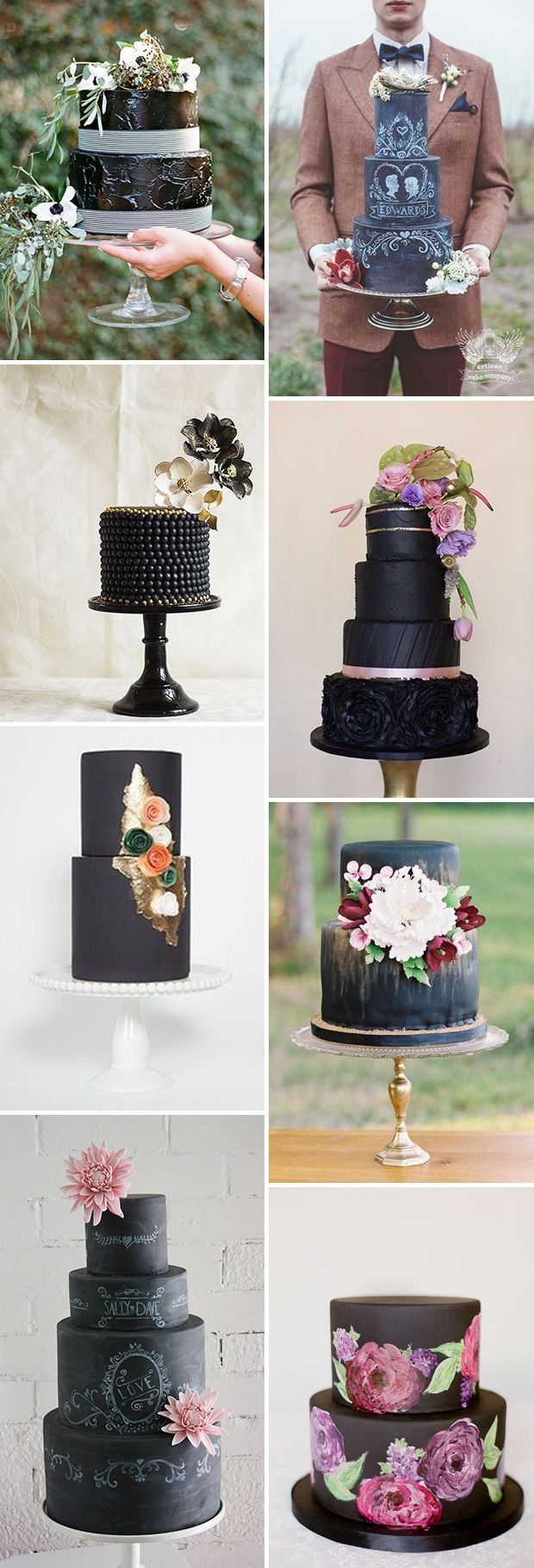 Beautiful black wedding cakes.♥..¸¸.•♥•