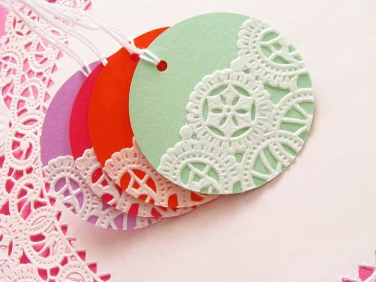 ON SALE - Vintage Doilies Gift Tags Colorful