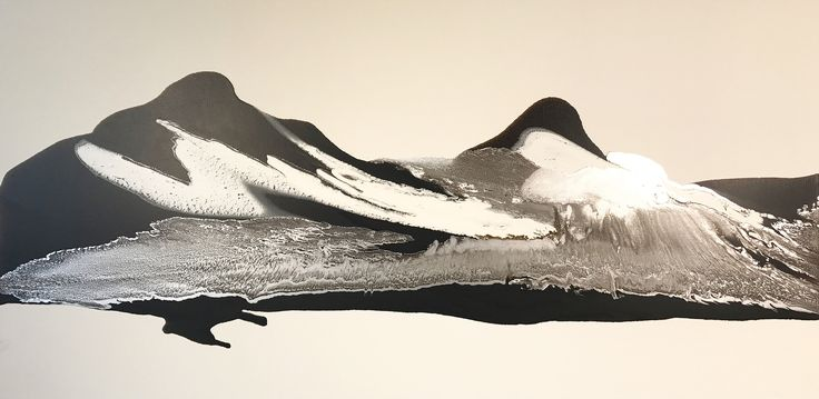 Mont Blanc. A delicate abstract work recently completed by Alex. 1800 x 900mm mixed media on canvas.