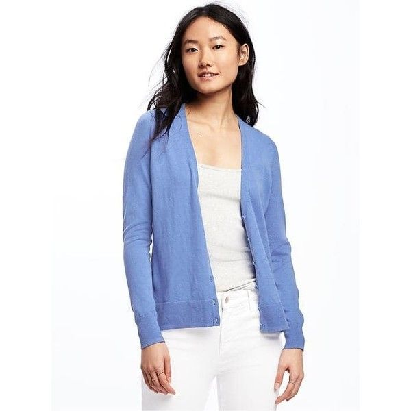 Old Navy Womens Button Front Cardi ($12) ❤ liked on Polyvore featuring tops, cardigans, blueberry smoothie, petite, long sleeve tops, v neck long sleeve top, old navy cardigan, old navy and fitted tops