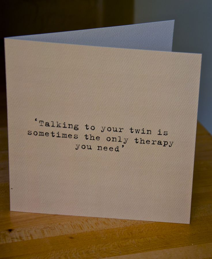 """A card for your #twin sister www.twinsgiftcompany.co.uk """"talking to your twin is sometimes all the therapy you need!"""""""