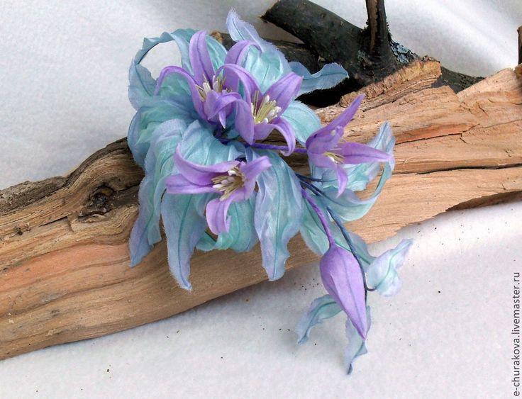 Купить Цветы из ткани. Колокольчики. Цветы из шелка. - сиреневый, мятный, колокольчики, брошь цветок, брошь