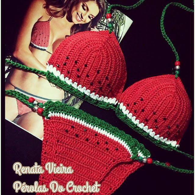 * Pérolas do Crochet: Biquini em crochet Melancia e colorido