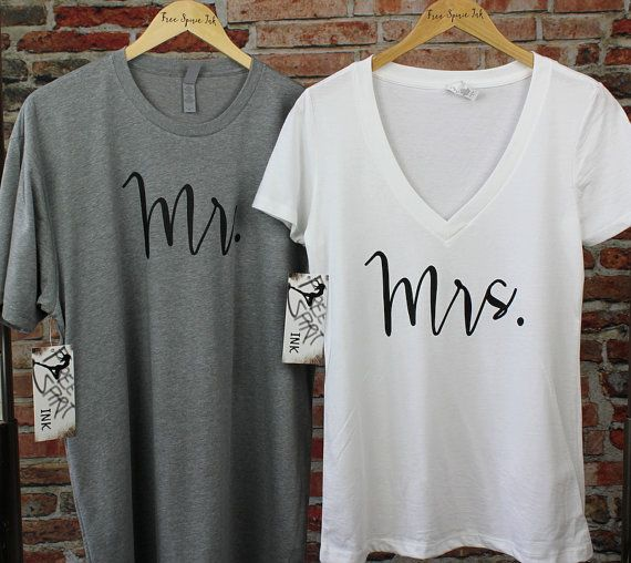 MR and MRS Shirt Set. Wedding Gift. Couples by FreeSpiritInk