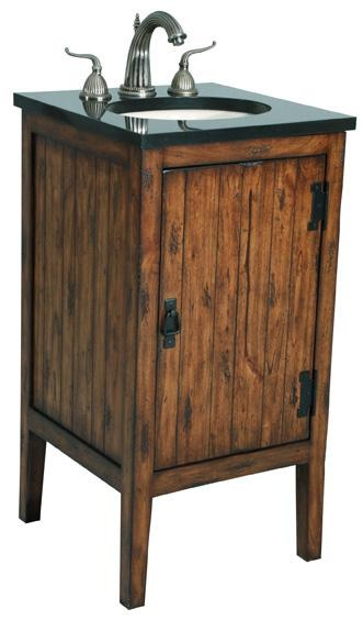 With its slightly distressed finish and black granite top - Black distressed bathroom vanity ...