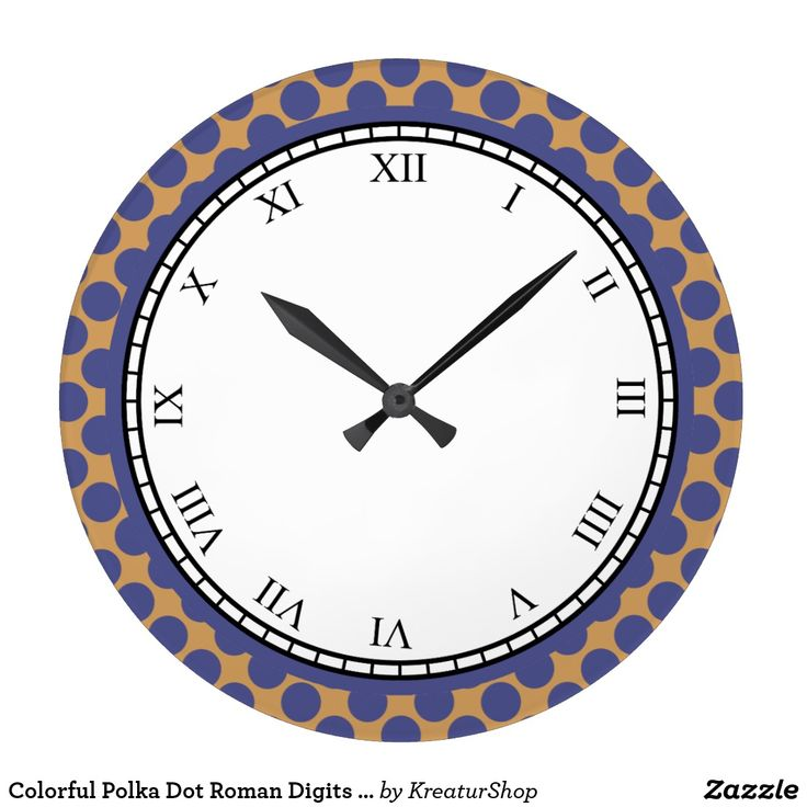 Colorful Polka Dot Roman Digits Blue on any Color
