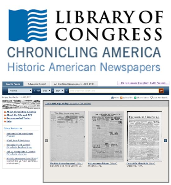 """""""Search America's historic newspaper pages from 1789-1924 or use the U.S. Newspaper Directory to find information about American newspapers published between 1690-present. Chronicling America is sponsored jointly by the National Endowment for the Humanities and the Library of Congress."""""""