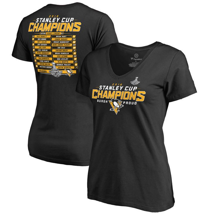 Pittsburgh Penguins Women's 2016 Stanley Cup Champions Roster V-Neck T-Shirt - Black - $22.99