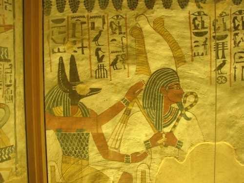 """La tombe de Sennefer TT 96 dite """"la tombe aux vignes"""", Osiris et Anubis"""