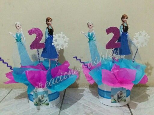 Centro de mesa frozen decoracion para fiesta for Centros de mesa de frozen