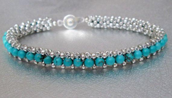 genuine turquoise bracelet gemstone beaded bracelet by beadnurse