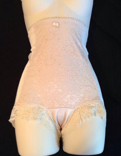 Panty Girdle High Waist Sissy M Medium Lace Spandex Beige