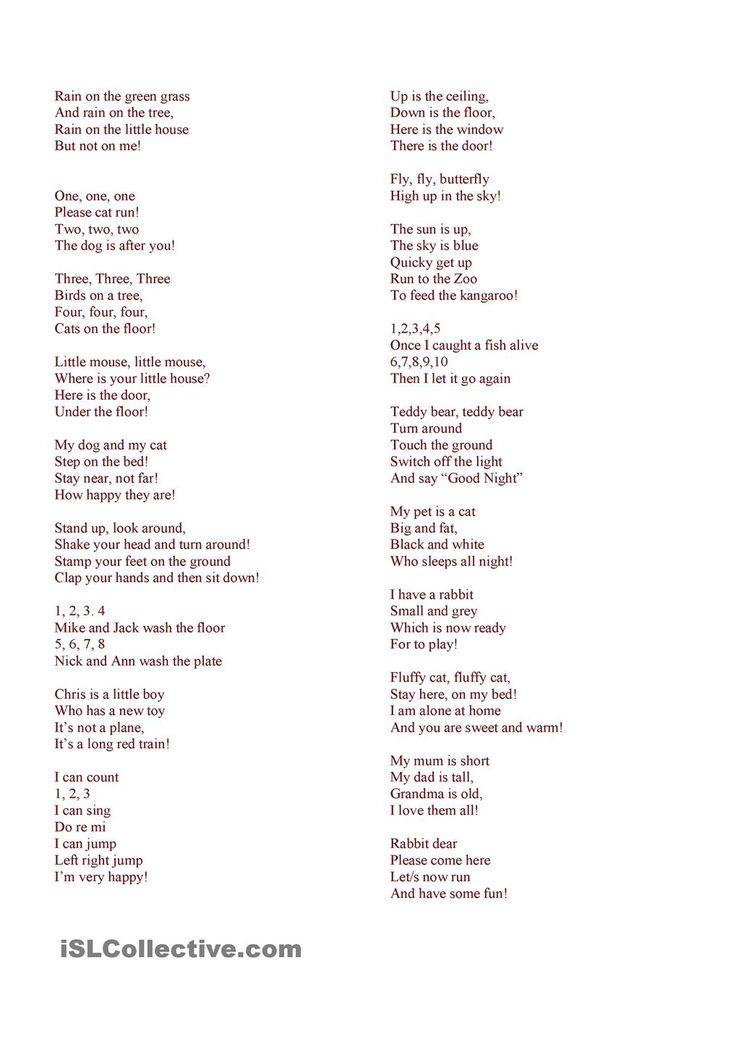 25+ best ideas about Short poems for kids on Pinterest   Short ...
