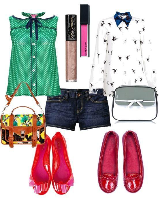 джинсовые шорты, девачковая блузка и розовые балетки