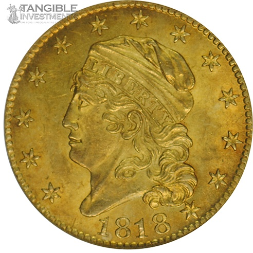 1818 5 Dollar Gold Coin MS-64 NGC. 5D Over 50, BD, R.5 $77,500