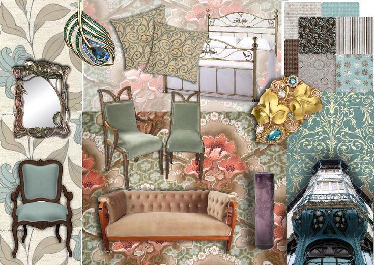 art nouveau interior design moodboard. Created using www.sampleboard.com
