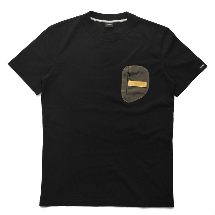 Coated Green Zip Pocket Tee - Black