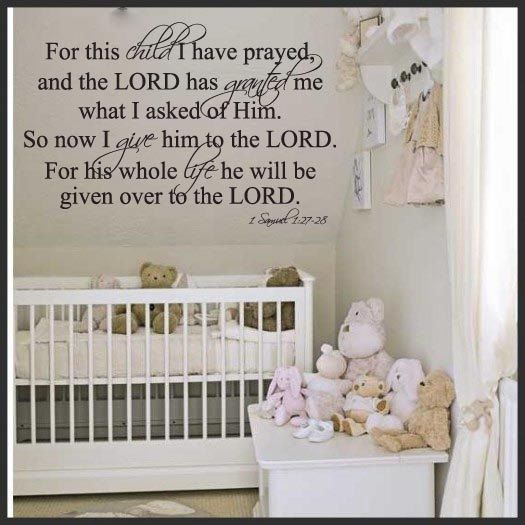 For This Child I have Prayed- Unisex- Vinyl Wall Decal/Décor. $31.00, via Etsy.