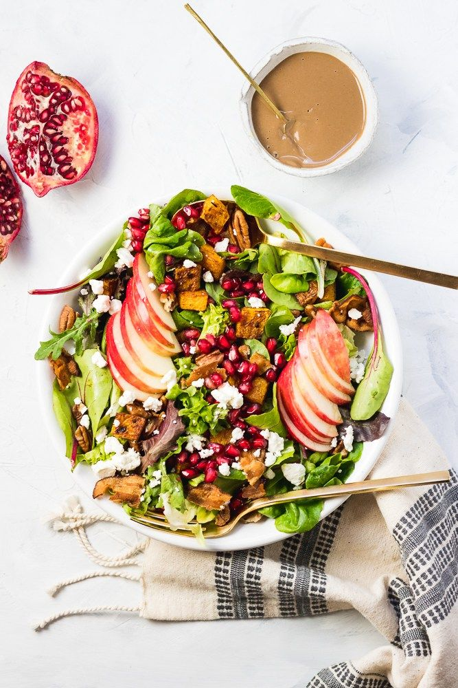 Fall Harvest Salad With Maple Tahini Balsamic Dressing
