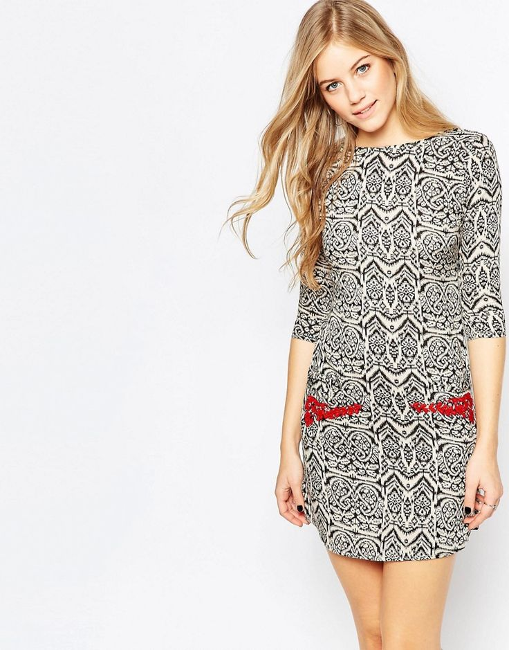 Buy it now. Diya 3/4 Sleeve Printed Shift Dress With Embellished Pockets - Black. Casual dress by Diya, Soft-touch woven fabric, Bead and sequin embellishment, Round neckline, Zip back, Slim fit - cut closely to the body, Hand wash, 100% Viscose, Our model wears a UK 8/EU 36/US 4 and is 178cm/5'10 tall. , vestidoinformal, casual, camiseta, playeros, informales, túnica, estilocamiseta, camisola, vestidodealgodón, vestidosdealgodón, verano, informal, playa, playero, capa, capas…