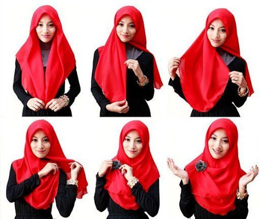 Cara Memakai Hijab Segi Empat Modern Terkini