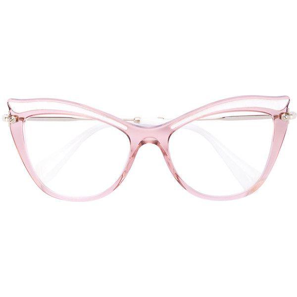 Miu Miu Eyewear cat eye glasses (€310) ❤ liked on Polyvore featuring accessories, eyewear, eyeglasses, pink, miu miu, cat eyeglasses, miu miu glasses, transparent glasses and see through glasses