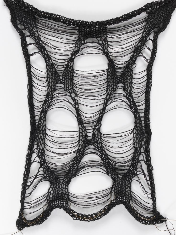 Knitted sample with shaped ladder technique; experimental textiles inspired by 16th century armour // Juliana Sissons
