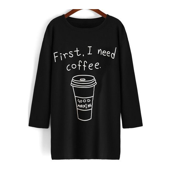 SheIn(sheinside) Black Round Neck Coffee Print Long T-Shirt (£8.70) ❤ liked on Polyvore featuring tops, t-shirts, black, print t shirts, long tee, black cotton t shirt, cotton tee and long sleeve cotton tees