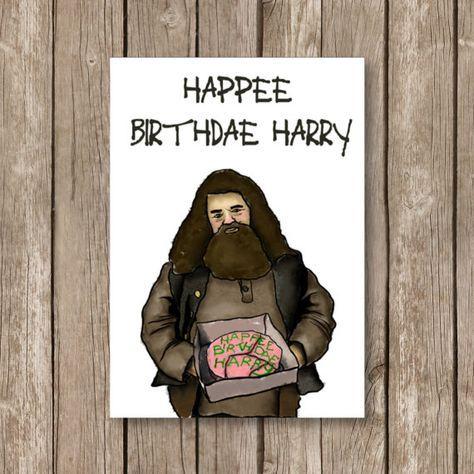 printable birthday card, Harry Potter, Happee birthdae, hagrid, watercolor technique, computer design