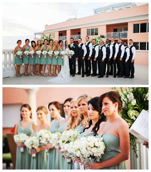 Gorgeous celadon green wedding party