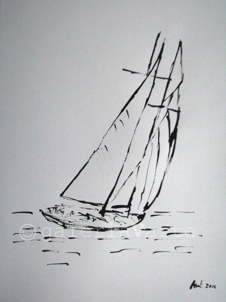 Ink drawing sailboat by galeriaVarte