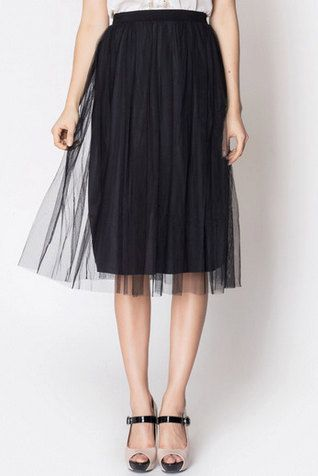 Black Tulle Midi Skirt Special Offer by FlaviaDeMasi on Etsy