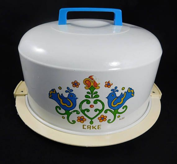 Cake Carrier Covered Locking Carrier Kromex 1975 Blue