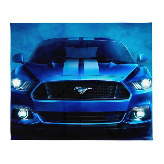 Blue And White Ford Mustang Premium Throw Blanket 50 60 Etsy In 2021 Mustang Wallpaper Car Wallpapers Cute Bike Pictures