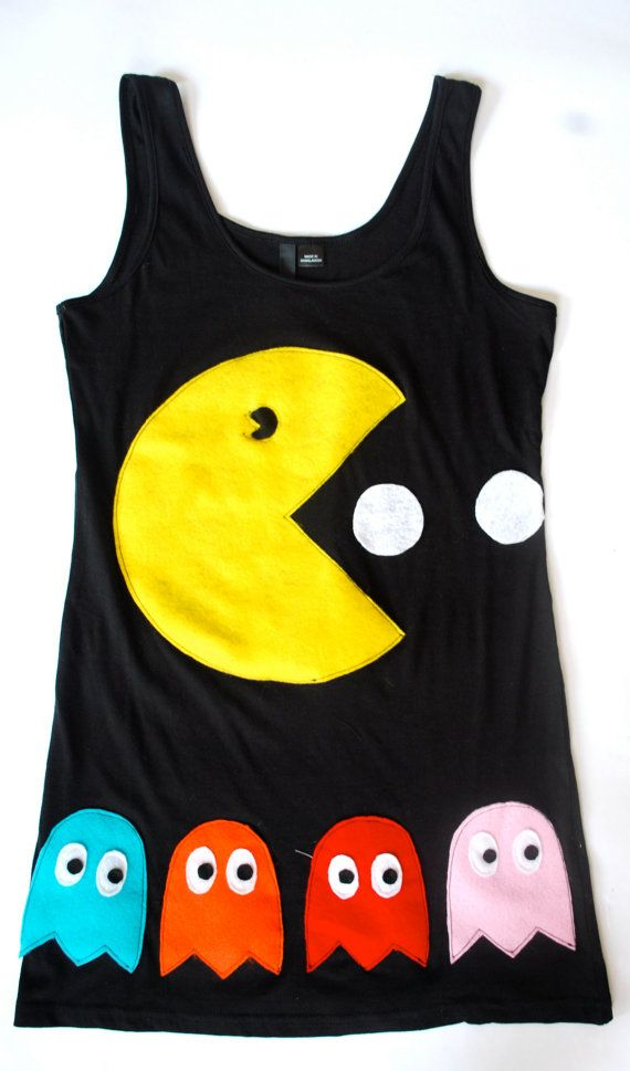 Womens Pacman and Ghosts Tank Top Tunic by coyotepeyote on Etsy, $70.00