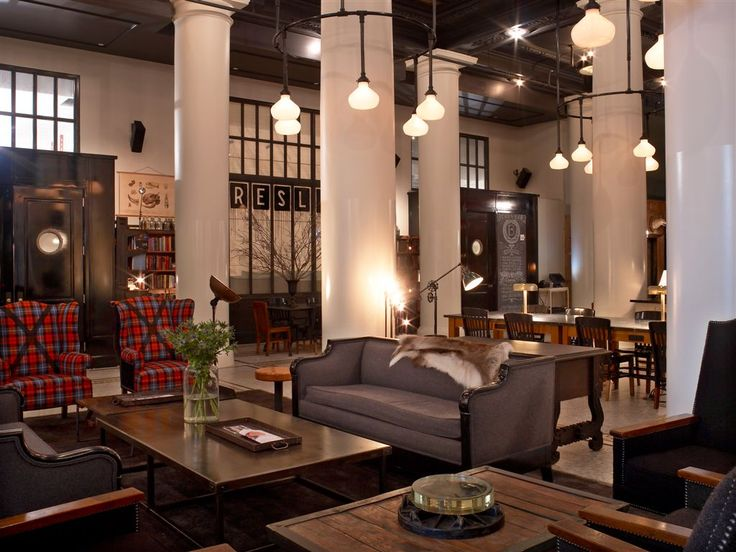 Ace Hotel NYC lobby - my style inspiration for the nursery...vintage, masculine, industrial.