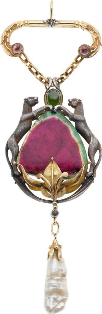 Tourmaline and Diamond Pendant Brooch by Boucheron