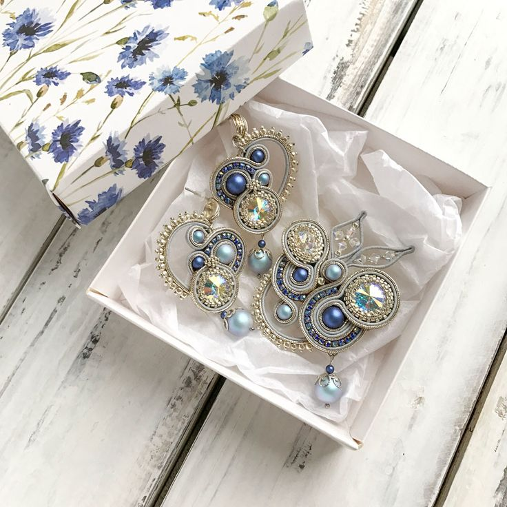 Unbelievable soutache set in Blue and Gold color. With amazing pearls and crystalls from the final Swarovski collection (spring/summer 2018). Pay attention! The earrings have an unusual arrangement of pearls and differ from each other!