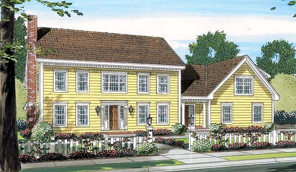 Elevation of Colonial   House Plan 24752