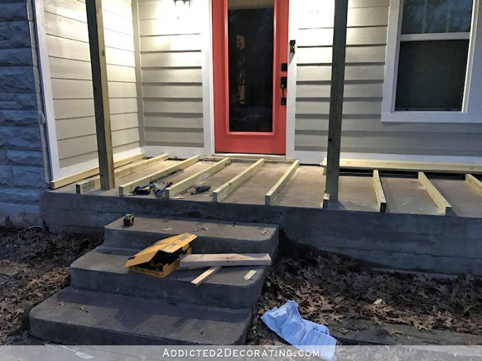 Covering An Existing Concrete Porch With Wood Part 1 Addicted