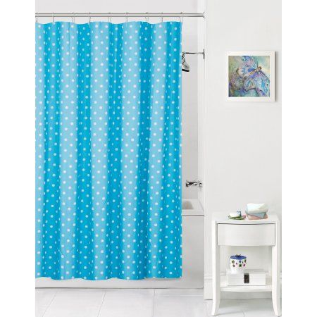 Mainstays Kids Blue And White Polka Dot Coordinating Fabric Shower Curtain Products Fabric Shower Curtains Shower Curtains Walmart Curtains