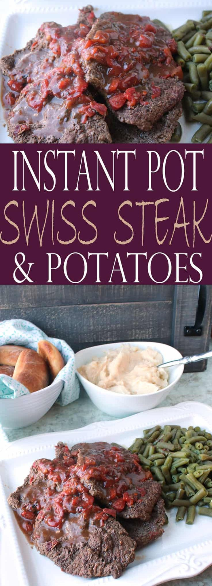 Instant Pot Swiss Steak and Potatoes recipe! It's an easy Instant Pot recipe that's ready in no time at all