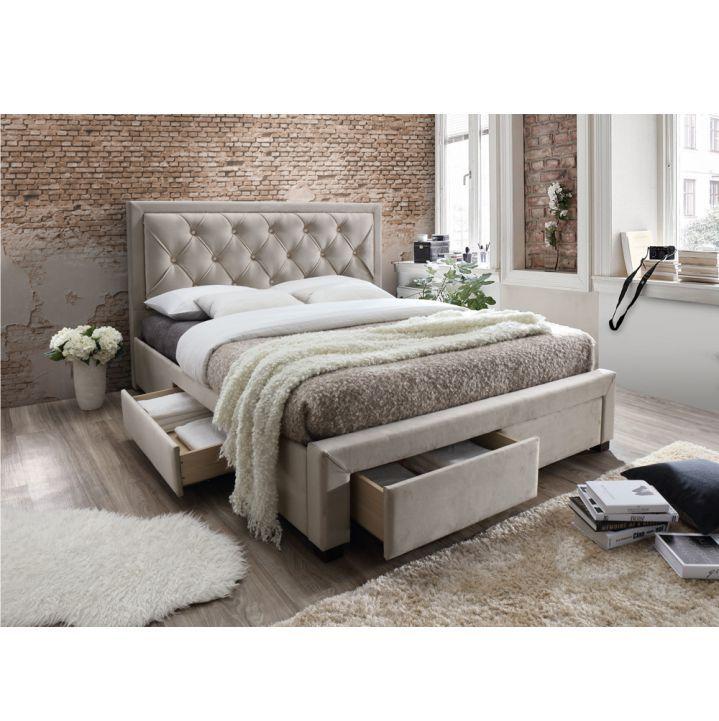 Luxusná posteľ OREA v sivohnedej látke s vysokým prešívaným čelom a praktickým úložným priestorom, ktorá Vám zabezpečí pohodlný spánok.