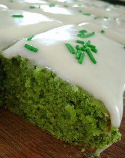 Turkish Lemon Spinach Cake.  Great for St. Patrick's Day. No artificial dyes!This is a delicious cake. Very moist and, most importantly, non-spinach tasting. It just tastes like a moist, delicious, lemon cake. https://www.amedroscafe.com/