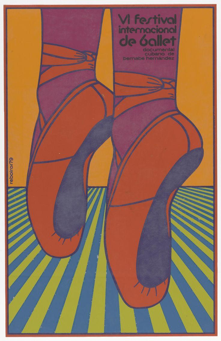 "Antonio Fernandez Reboiro. VI internacional festival de ballet (6th international ballet festival) (Poster for the documentary film by Bernabé Hernández). 1979. Screenprint. 28 x 18"" (71.1 x 45.7 cm). ICAIC (Instituto Cubano del Arte e Industria Cinematográficos). Gift of the Circulo de Cultura Cubana Inc.. 896.2015. Architecture and Design"