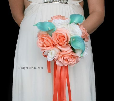 Small Coral and Peach Wedding Flower bouquets - small bridesmaids bouquets, small bridesmaid bouquet ideas